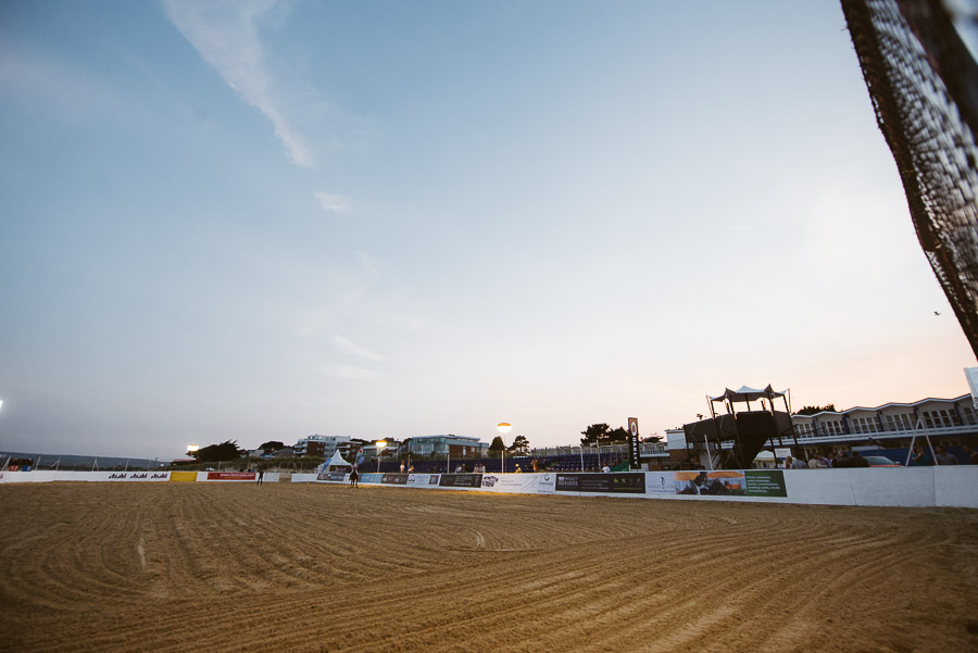 sandbanks beach polo court at sunset